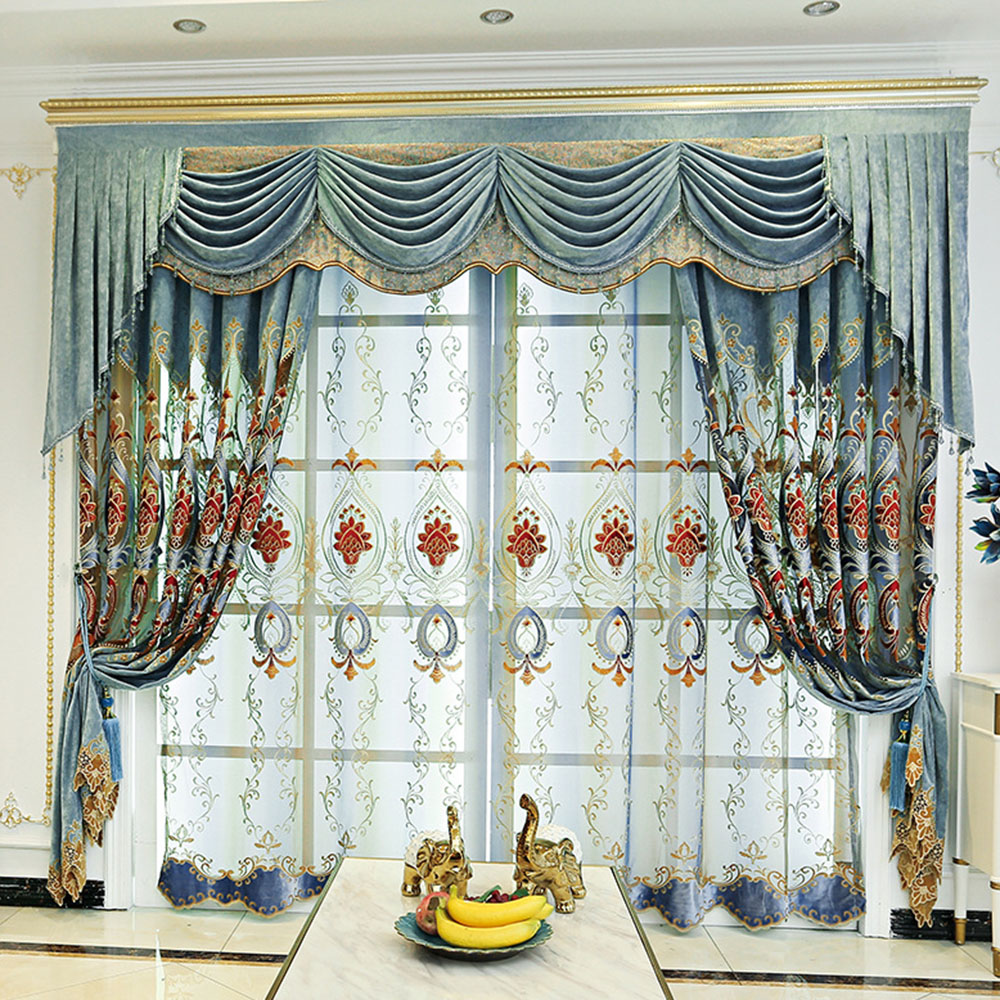 Luxury Embroidered Sheer Curtains for Living Room Custom 2 Panels Breathable Drapes No Pilling No Fading No off-lining