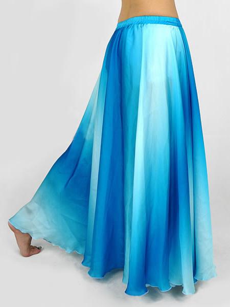 Milanoo Gradual Blue Silk Womens Belly Dance Skirt
