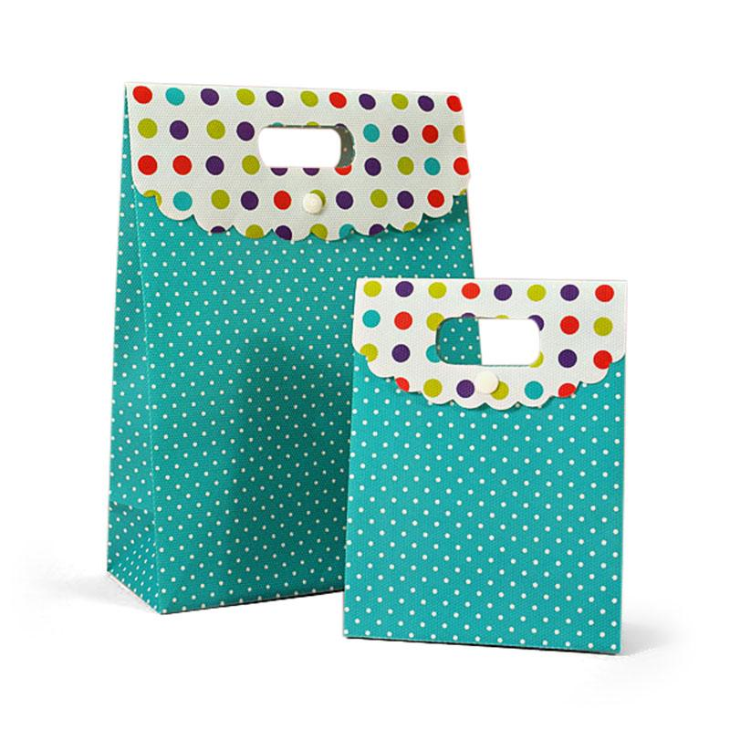 Polka Dots Tab Top Boxes Polypropylene / Cellophane Gusset - 2 3/8 - Quantity: 25 Width: 4 3/4 Height/Depth: 6 1/2 by Paper Mart