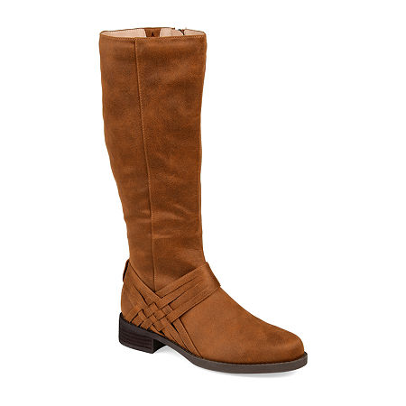 Journee Collection Womens Meg Wide Calf Stacked Heel Over the Knee Boots, 8 1/2 Medium, Brown