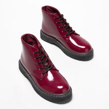 Minimalist Patent Leather Lace-up Front Boots