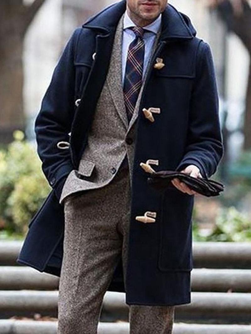 Ericdress Mid-Length Plain Lapel Horn Button Straight Coat