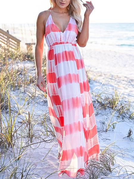 Milanoo Stripe Maxi Dresses Sleeveless Long Beach Dress