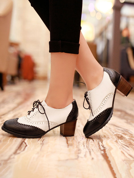 Milanoo Women Oxfords Black Classic Round Toe PU Leather Lace Up Block Heel Oxford Shoes