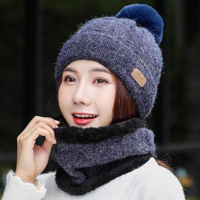 Warm Thick Beanies Wool Ball Wool Hat Scarf Knit Hat Earmuffs Cap