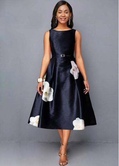 Wedding Guest Dress Floral Print Sleeveless A Line Dress - XL