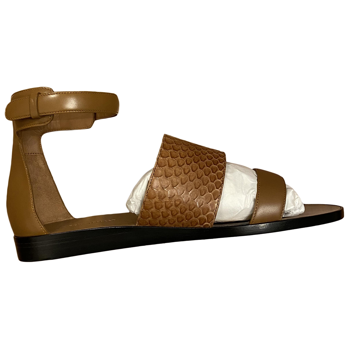 Giorgio Armani \N Camel Leather Sandals for Women 37 EU