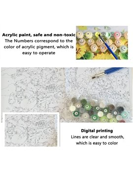 Tiger/Unicorn DIY Coloring Game Animal Digital Printed Oil Painting with Acrylic Paint Color Pens and Pine Framework