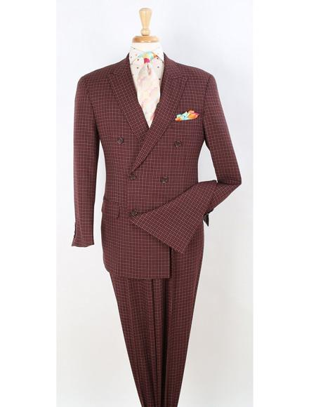 Mens Double Breasted Burgundy Suit