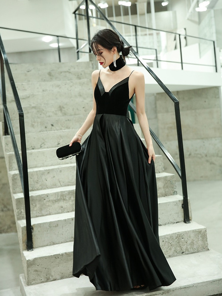 Milanoo Evening Dress A-Line V-Neck Velour Floor-Length Spaghetti Straps Prom Dress