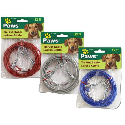 Câble d'attache de chien de 12 pi, 1 couleur aléatoire par paquet - PAWS
