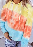 Tie Dye Color Block Kangaroo Pocket Hoodie