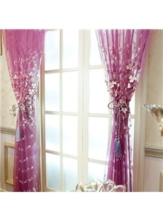 Decoration High-Quality White Yarn Clover Pattern Embroidered and Embossed Modern Style Sheer Curtain