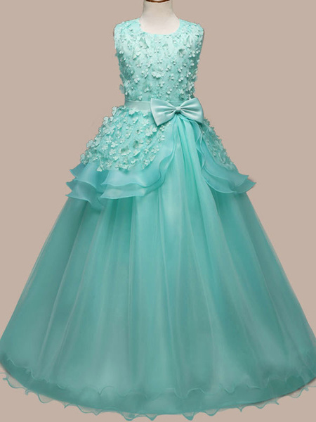 Milanoo Flower Girl Dresses Jewel Neck Sleeveless Floor Length Bows Kids Pageant Party Dresses