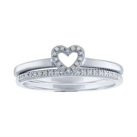 The Perfect Stack Womens Diamond Accent Genuine White Diamond Sterling Silver Heart Ring Sets, 9 , No Color Family