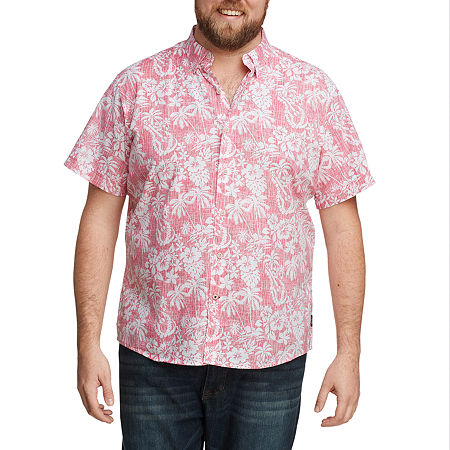 IZOD Big and Tall Mens Short Sleeve Cooling Moisture Wicking Button-Down Shirt, 5x-large Tall , Red
