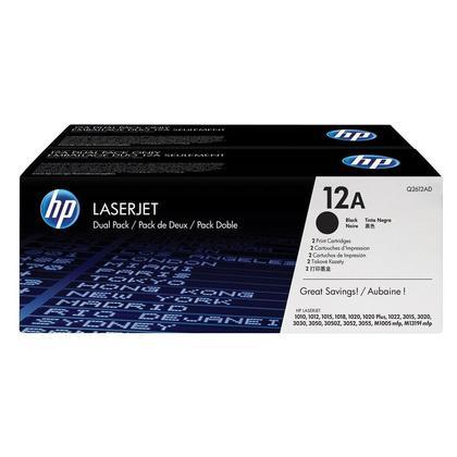 HP 12A Q2612D Original Black Toner Cartridge, 2 Pack