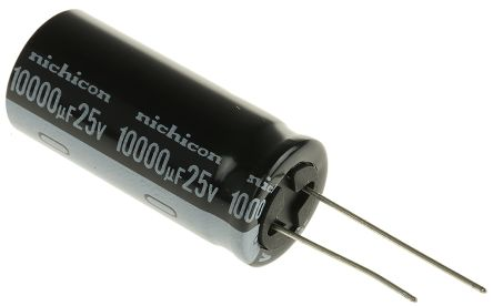 Nichicon 10000μF Electrolytic Capacitor 25V dc, Through Hole - UVY1E103MHD