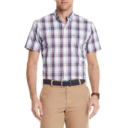 IZOD Izod Advantage Performance Mens Short Sleeve Cooling Moisture Wicking Plaid Button-Down Shirt, Large , White