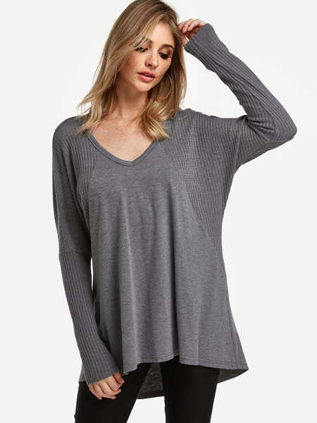 Yoins Grey V-neck Bat Sleeves Knitted T-shirt