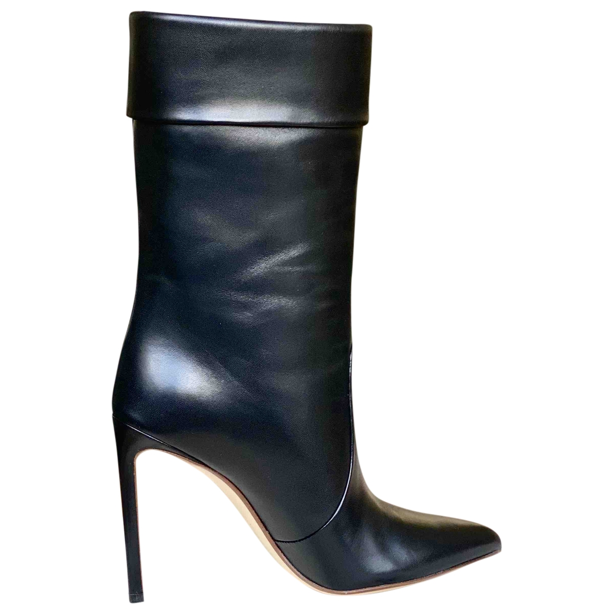 Francesco Russo \N Black Leather Ankle boots for Women 37 EU