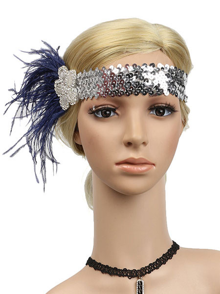 Milanoo Flapper Headband Sequins 1920s Great Gatsby Feather Rhinestone Women Headband Retro Hair Accessories Halloween