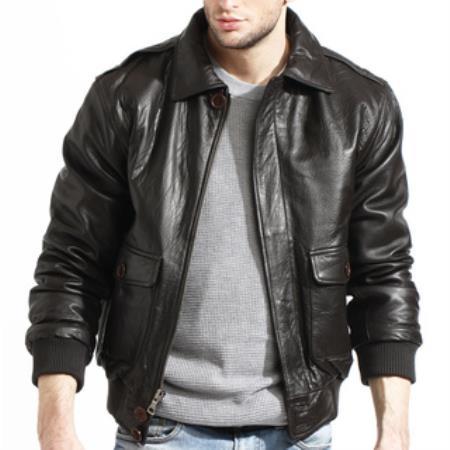 Men's Brown Lambskin Leather Bomber Jacket