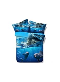 Dolphin under the Sea Printed 4-Piece Blue 3D Bedding Sets/Duvet Covers
