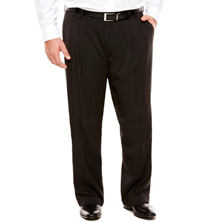 Men's Van Heusen Traveler Stretch Pleated Straight-Leg Dress Pant- Big and Tall, 50 29, Black