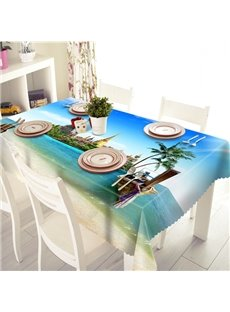 Blue Sky and Sea Pattern Polyester 3D Tablecloth