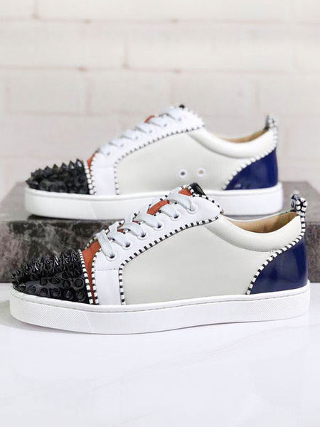 Milanoo Mens Spike Sneakers 2020 Shoes Ivory Round Toe Rivets lace up In variety Colorblock Casual Skate Shoes