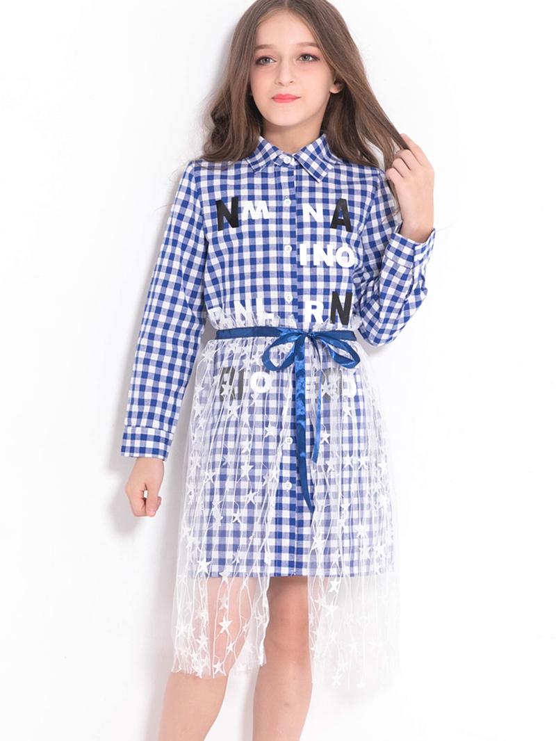 Ericdress Plaid Button-Front Notched Collar Shirt With Transparent Star Skirt