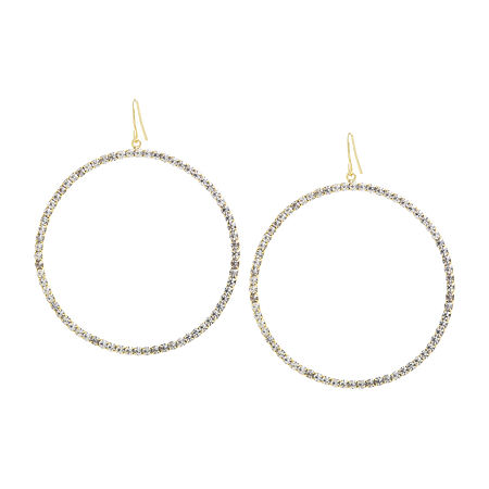 Sparkle Allure 1 Pair Crystal 14K Gold Over Brass Round Drop Earrings, One Size , No Color Family