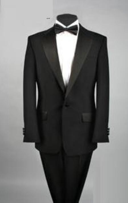 Cheap One Button Black Tuxedo Polyester Blend
