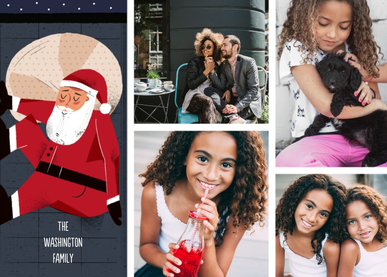 Christmas Photo Cards 5x7 Folded Cards, Standard Cardstock 85lb, Card & Stationery -Santa Clause Collage