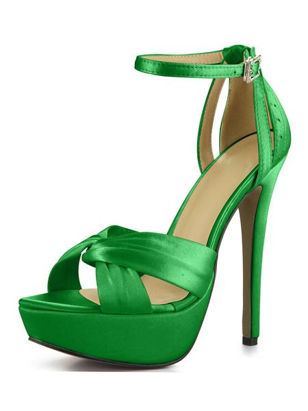 Milanoo Platform High Heel Sandals Womens Imitated Silk Knot Open Toe Ankle Strap Stiletto Heels Sandals