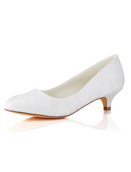 Milanoo Lace Mother Shoes Round Toe Wedding Shoes Ivory Bridal Shoes