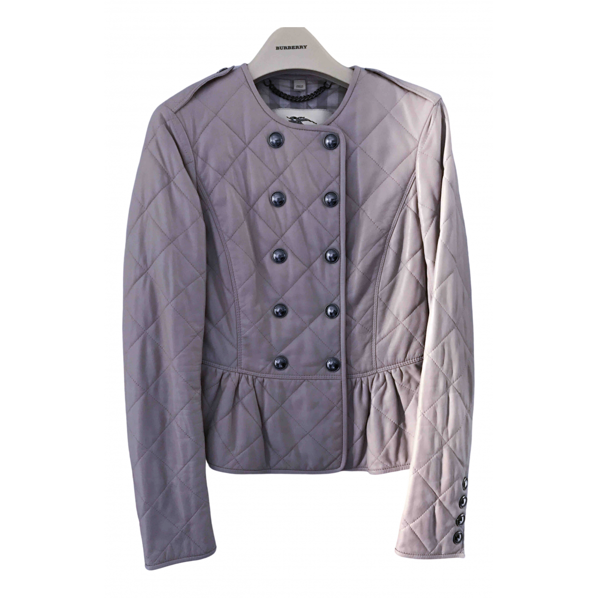 Burberry \N Pink Leather Leather jacket for Women XS International