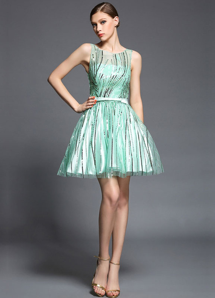 Milanoo Green Sash Print Satin Cocktail Dress