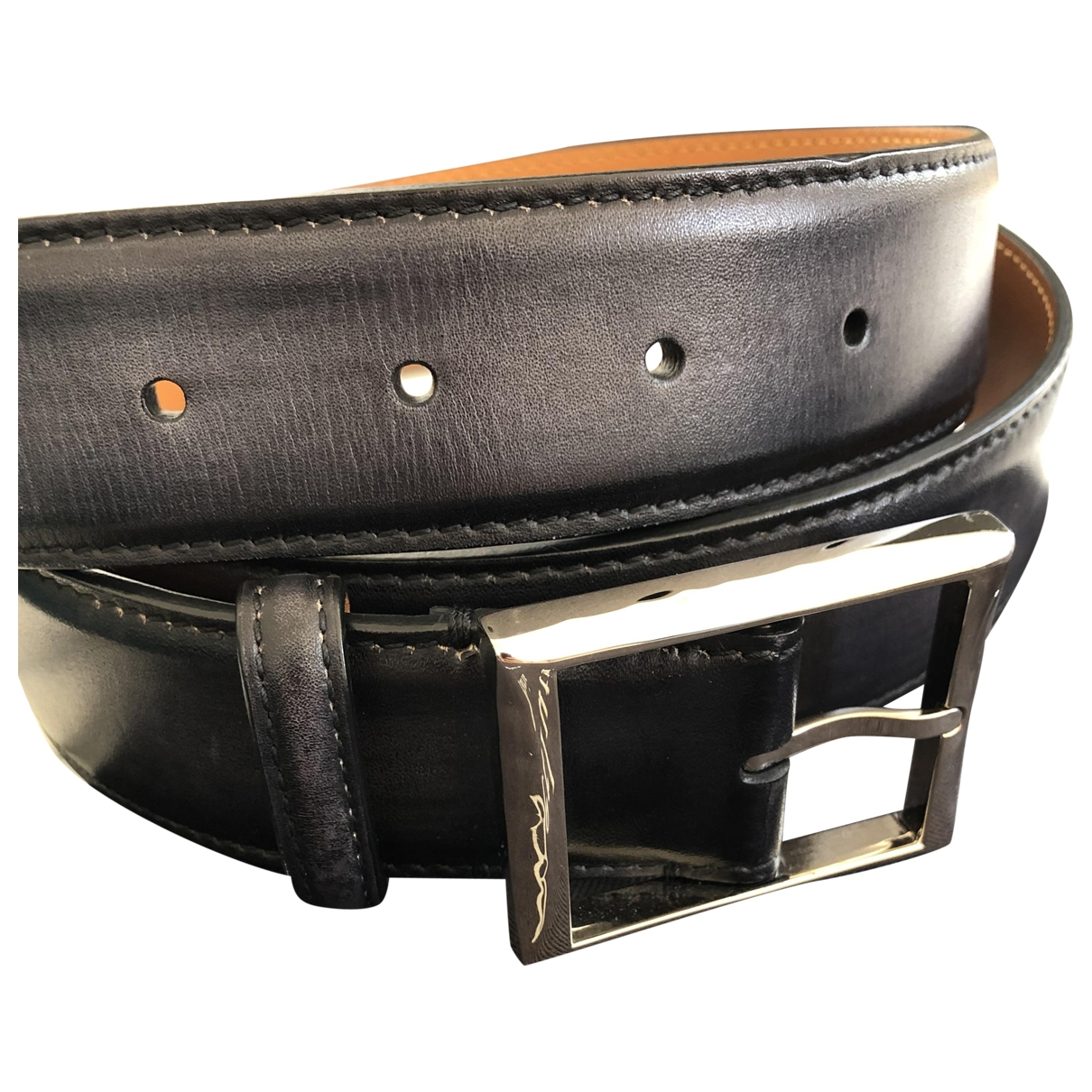 Berluti \N Blue Leather belt for Men 100 cm