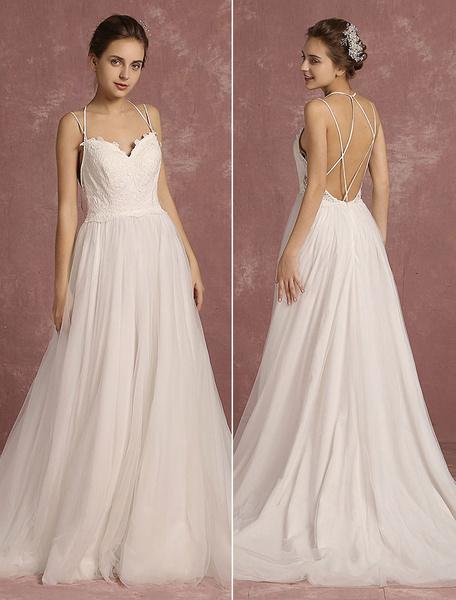 Milanoo Summer Wedding Dresses 2020 Boho Spaghetti Strap Sweetheart Sleeveless Bridal Gown A Line Criss Cross Backless Bridal Dress With Train