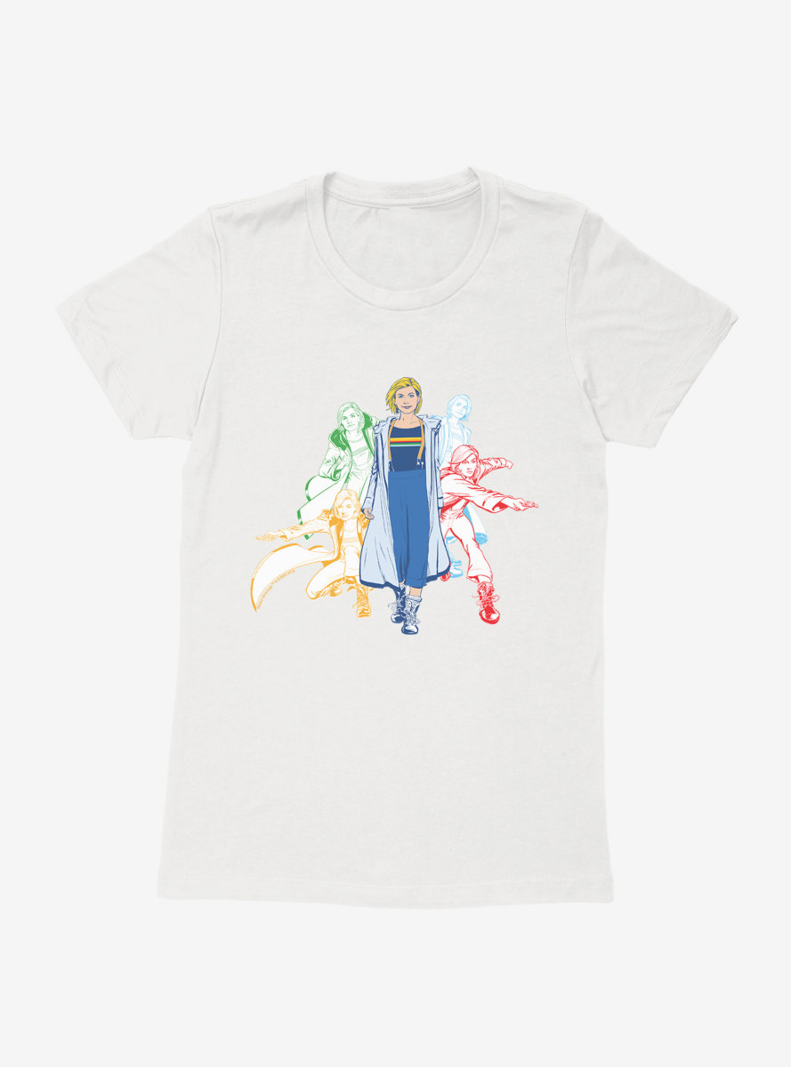 Doctor Who Thirteenth Doctor Jump Into Action Sketches Womens T-Shirt