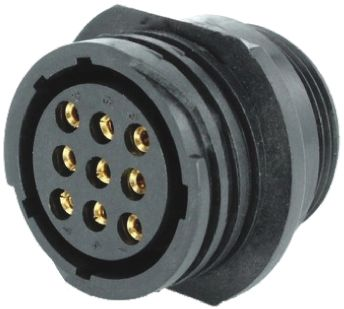 Toughcon Connector, 9 contacts Cable Mount Socket, Crimp IP44, IP65