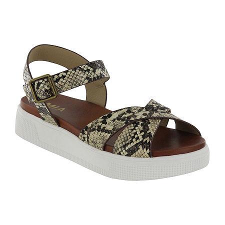 Mia Girl Womens Yullia Ankle Strap Flat Sandals, 7 1/2 Medium, Multiple Colors