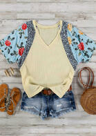 Floral Leopard V-Neck Blouse - Light Yellow