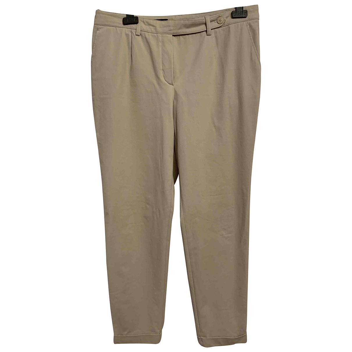 Loro Piana \N Ecru Cotton Trousers for Women 48 IT