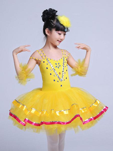 Milanoo Ballet Dance Costume Yellow Sequin Beading Girls Tutu Ballerina Dress