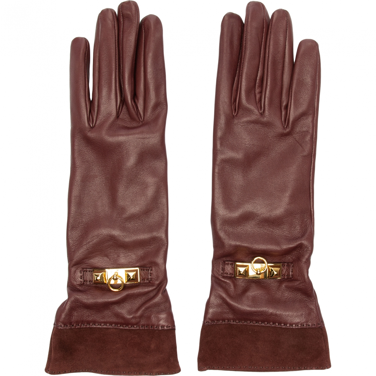 Hermès \N Burgundy Leather Gloves for Women 7 Inches