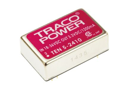 TRACOPOWER TEN 5 6W Isolated DC-DC Converter Through Hole, Voltage in 18 → 36 V dc, Voltage out 3.3V dc