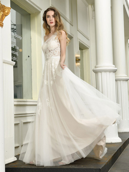 Milanoo Bridal Dress 2020 One Shoulder Sleeveless Buttons Bridal Dresses With Train